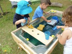 We love to see the children outside working & playing with the water table, a great sensory activity and they're so focused!... #Reggio #Preschool #Singapore #activities #water #children