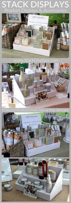 Skin Care products from Lulu and Max shown on our solid white Stack Displays at a local Farmers Market.
