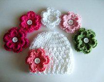 Bebé niña sombrero del ganchillo con 3 opciones de flor, elegir 23 colores, recién nacido, bebé sombrero