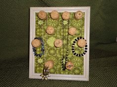 Champagne Cork Jewelry Holder Frame - Green. $15.00, via Etsy.