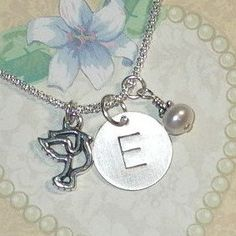 Dove Hand Stamped Sterling Silver Initial Charm Necklace by #DolphinMoonCreations #dovenecklace #initialcharmnecklace