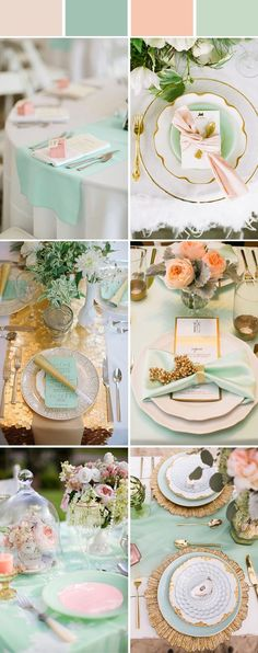 mint wedding theme, color combinations, wedding table settings, most beautiful wedding color palette Mint Wedding Themes, Wedding Mint Green, Wedding Colors, Peach Wedding Decor, Mint Gold Weddings, Orange Weddings, Elegant Table Settings, Wedding Table Settings, Setting Table