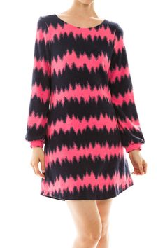 Spike Zigzag Long Sleeve Knit Dress