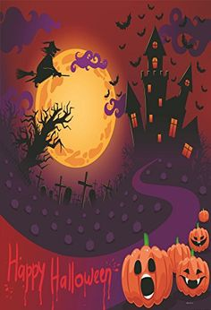 0ae3ec01817 Amazon.com   5x7ft Pumpkin Faces and Witch Photo Backgrounds no Wrinkle  Cartoon Painting Photography Backdrops for Halloween wd077   Camera   Photo