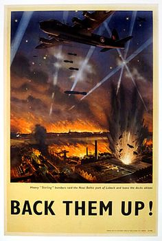 """Back Them Up! Heavy """"Sterling"""" bombers raid the Nazi Baltic port of Lubeck and leave the docks ablaze  Artist: Roy Nockolds"""