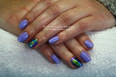 CND Shellac nails in Wisteria Haze with Foils on the ring finger. #purepl #lilac #blue #nailart #salcombe