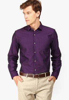 Purple Costume Shirt Gray Pants