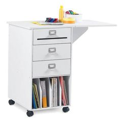 Compact Mobile Craft Station in Classic White Finish Mobile Craft, Craft Station, Canada Shopping, Craft Storage, One Design, Classic White, Online Furniture, Filing Cabinet, Compact