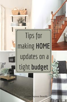 Tips for how not to go insane when trying to update your home on a tight budget. Read on for insperation on how you can create a home you love while staying on budget. Home improvements/budget-friendly home updates Home Improvement Loans, Home Improvement Projects, Home Projects, Home Improvements, Diy On A Budget, Decorating On A Budget, Tight Budget, House Ideas On A Budget, Home Renovation