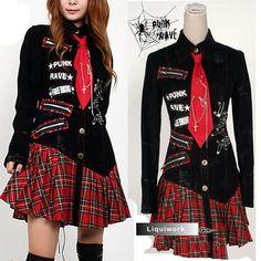 rock clothing   Black Red Plaid Punk Rock Gothic Clothing Shirt Dresses Women SKU ...