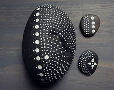 Painted River Stones Natural Home Decor Black and White Dots Painted Rocks Simple Minimalist Zen Nature Art Found In Nature