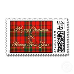 Adorable Christmas tartan postal stamp medium