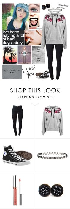 """""""I'm just too tired to put up a fight"""" by emmcg915 ❤ liked on Polyvore featuring J Brand, Cinq à Sept, Converse, Topshop, Anastasia Beverly Hills and Love Quotes Scarves"""