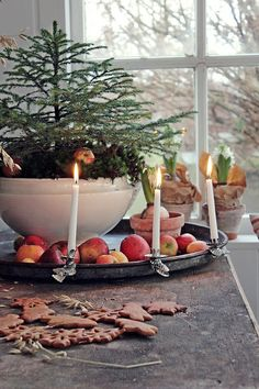 Ah! Christmas Decorating at its best! LOVE these vintage candle holders perched on an old tray filled with apples and an ironstone container holding an evergreen.