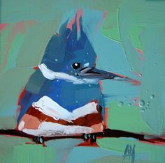 Kingfisher no.12 original bird oil painting by Moulton 6 x 6 inches on panel  prattcreekart