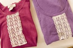 Re-vamping an old T-shirt with lace....I need to learn to sew!!! :)