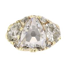 Antique old cut diamond cluster ring, French, circa 1910. | From a unique collection of vintage three-stone rings at http://www.1stdibs.com/jewelry/rings/three-stone-rings/
