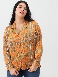V By Very Curve Scarf Print Blouse - Orange, Orange, Size Women - Orange - 26 Work Trousers, Orange Blouse, High Leg Boots, Blazer Fashion, Long Toes, Cuff Sleeves, Printed Blouse, Orange Color, Vintage Inspired