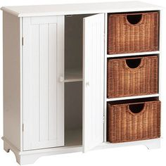 Wood Pantry with Baskets, White