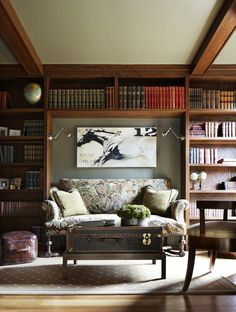 Sofa niche in bookcases with great lighting