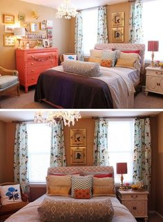 Cute non-matchy bedroom. Love!