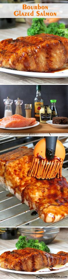 Bourbon Glazed Salmon   YummyAddiction.com
