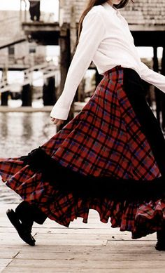 Vogue 2006, designer red and black tartan skirt.