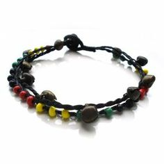 Idin Anklet - Handmade double-stranded wax cord with multi-coloured beads and... Idin. $15.99