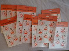 10 Packages Vintage Halloween Stickers Glittery by MendozamVintage
