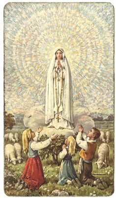 Our Lady of Fatima with Children & Sheep by VintagePaperAttic