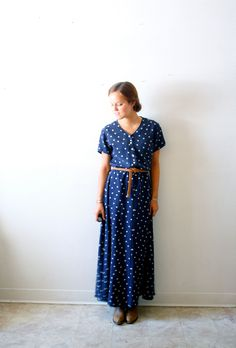 Vintage dark blue polka dot dress. $34.00, via Etsy.