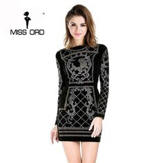9056c8584bfb Missord Sexy O-neck long-sleeved geometric silver and gold studded velvet  rhinestone dress