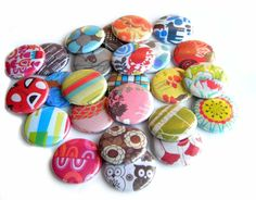 Flat Back Buttons  Retro Textiles set of 20 by buttonsandbadges