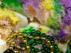 Cinnamon Apple and Cream Cheese Filled Mardi Gras King Cake