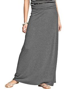 Rollover-Waist Maxi Skirts in Gray Heather | Old Navy