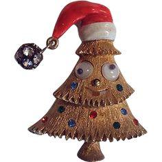 RARE JJ Googly Eyed Santa Claus Cap Christmas Tree Pin ~ Book Piece