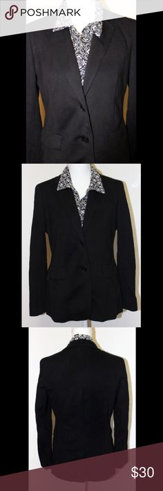 ✳️CLEARANCE✳️ Talbots Black Blazer Double button blazer has pockets on either side of front lapel; 1 welt pocket on left side of chest; notched collar; front and back princess seams; is fully lined; has 4 buttons on either sleeve, has shoulder pads, and has a back vent. ⭐️ Shell is made of 63% rayon, 32% nylon, and 5% spandex. Lining is 100% polyester. ⭐️ Made by Talbots and is size 2.⭐️Gently worn but still in good condition. Talbots Jackets & Coats Blazers
