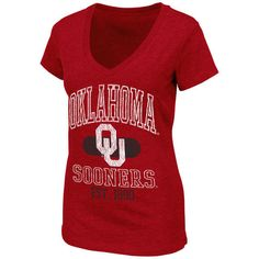 Oklahoma Sooners Women's Whisper V-Neck T-Shirt - Crimson ($16) ❤ liked on Polyvore featuring tops, t-shirts, crimson, v neck t shirts, v-neck tops, red v neck top, vneck tops and colosseum