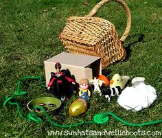 Jack & the Beanstalk story basket - green string with green buttons, small child figure, goose figure, golden egg, clouds