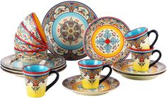 EuroCeramica Zanzibar 16 Piece Dinnerware Set Home Kitchen Special Occasion Best #EuroCeramica