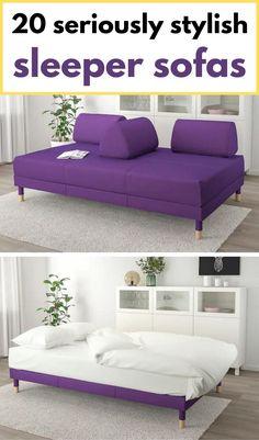 Purple sofa bed with storage