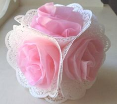 how to make tissue paper flowers with doilies Paper Doily Crafts, Doilies Crafts, Paper Doilies, Flower Crafts, Diy Paper, Handmade Flowers, Diy Flowers, Fabric Flowers, Tissue Paper Flowers