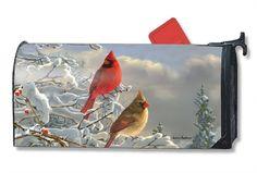 Magnet Works Mailwraps Winter Cardinals Original Magnetic Mailbox Wrap Cover #MagnetWorks