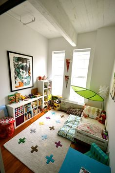 Name: Sofia Braeutigam Location: Williamsburg — Brooklyn, New York Size: 150 square feet Years lived in: 1 — rented It's not often I have the desire to move into a 2-year-old's bedroom, but this space with sky high ceilings in New York is first on my list. It's not often that renter-white walls make a space feel homey and comfortable, let alone like a great place for a child, but the bright spots of color, hip artwork and mix of retro and modern toys alike make it a great space. W...