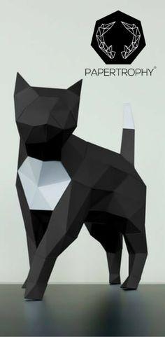 A chic feline decoration for your shelves. #Papertrophy #Papercraft