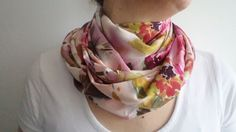 Cotton Scraf, Infinity Scarf, Loop Circle Scarf, Pink Flowers Scarf,  women scarf, holiday gifts, women accessories, scarves, winter gifts on Etsy, $25.00