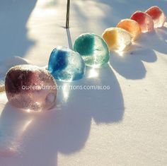 Frozen Water Balloons #ice #marbles