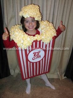 Homemade Popcorn Costume Idea: My daughter wanted to be a box of POPCORN for Halloween last year. It was a great costume that got a lot of compliments, and it was not that hard to make.