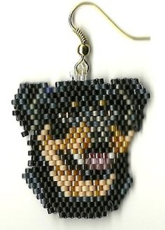 Hand beaded Rotweiler dog head dangle earrings by jjsims43 on Etsy