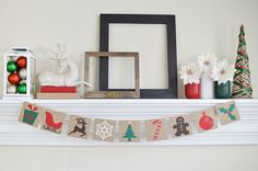 Merry Christmas Banner - Traditional Christmas Images Garland - Photo Prop - Christmas Dectoration - Christmas Banner - Christmas Sign by ABannerAffair on Etsy https://www.etsy.com/listing/259783032/merry-christmas-banner-traditional